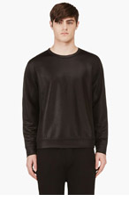 T BY ALEXANDER WANG Black High Gloss Long Sleeve Sweatshirt for men