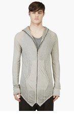 JULIUS Grey Overlong Zipped Hoodie for men
