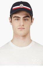 MONCLER Navy Stripe Logo Baseball Cap for men