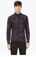 VALENTINO Blue Textured twill CAMOuflage Shirt for men