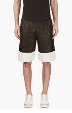 ALEXANDER WANG Black Lambskin Perforated Boxing Shorts for men