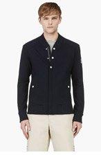 MONCLER GAMME BLEU Navy Knit Cotton Baseball Jacket for men