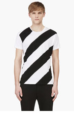 JONATHAN SAUNDERS Black & White Diagonal STRIPE T-SHIRT for men