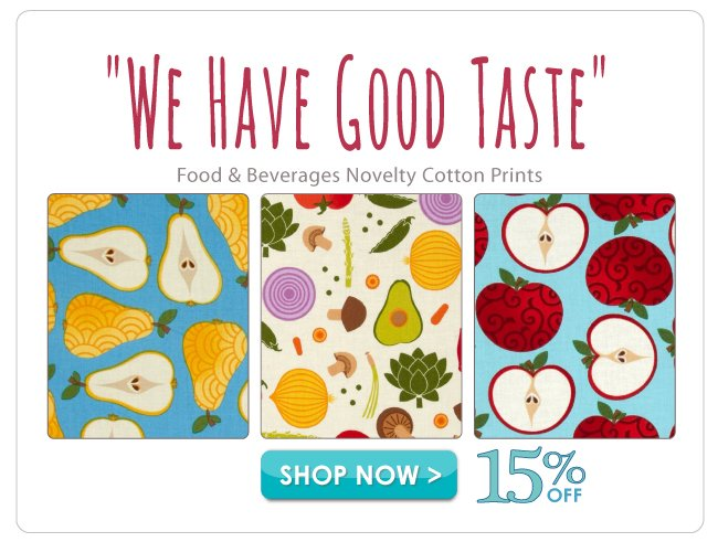 15% off Food & Beverages Novelty Cotton Prints