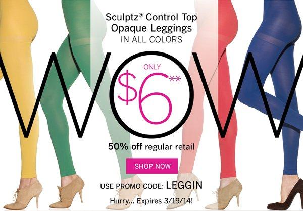 Sculptz Control Top Opaque Leggings are only $6 with Promo Code LEGGIN.