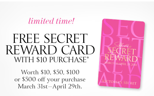 Free Secret Reward Card With $10 Purcahse