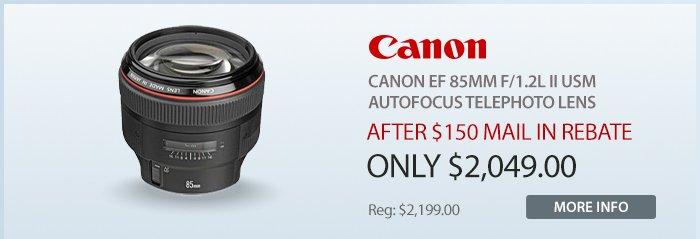 Adorama - Canon EF 85mm f/1.2L II USM AutoFocus Telephoto Lens - USA