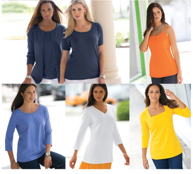 Tops BOGO - Buy 1 Get 1 Free - perfect timing! time to stock up on tees, shirts, sweaters and more - shop tops bogo