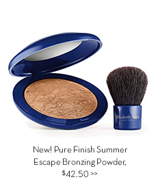 New! Pure Finish Summer Escape Bronzing Powder, $42.50.