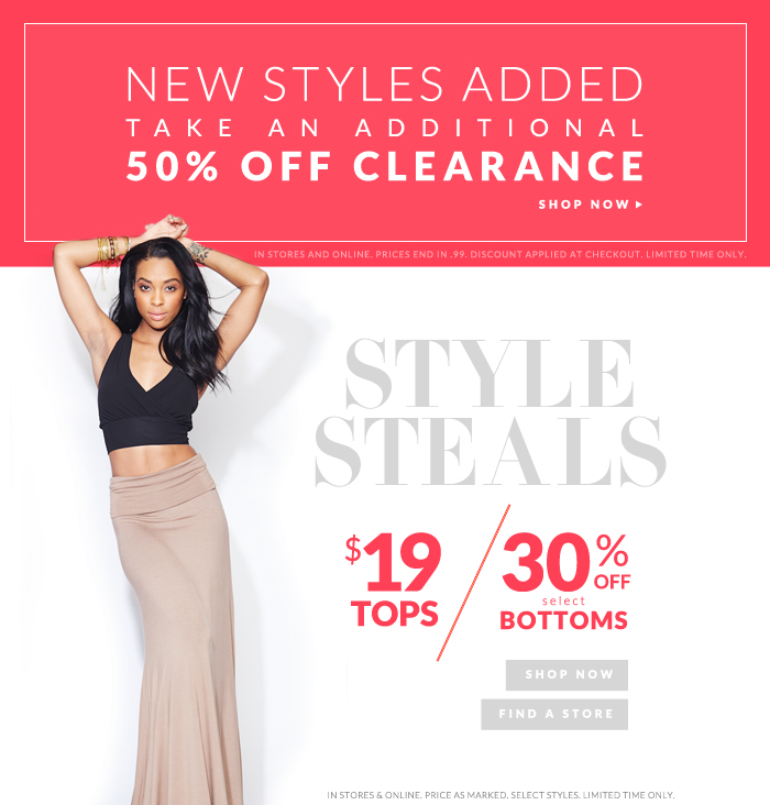 50% OFF CLEARANCE + STYLE STEALS