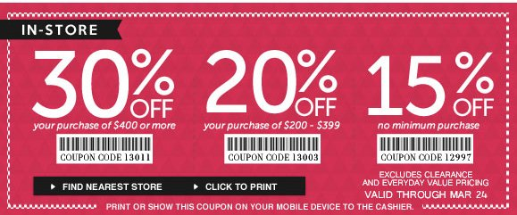 On-line and In-Store Sale! Use Code 12997 and Enjoy Up to 30% OFF Your Purchase · Hurry, Shop Now and SAVE!