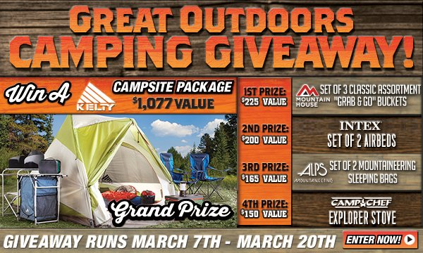 Sportsman's Guide's Great Outdoors Camping Giveaway! Enter through 3/20/2014...