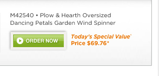M42540 Plow & Hearth Oversized Dancing Petals Garden Wind Spinner