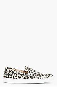 GIAMBATTISTA VALLI Ivory & Black Leopard Calf-Hair Loafers for women