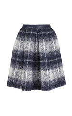 Plaid Skirt with Leather Trim