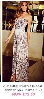 V I P Embellished Bandeau Printed Maxi Dress