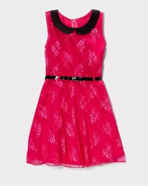 Apollo Girls Lace Overlay Collared Dress