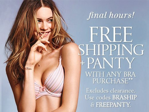 Final Hours! Free Shipping + Panty With Any Bra Purchase