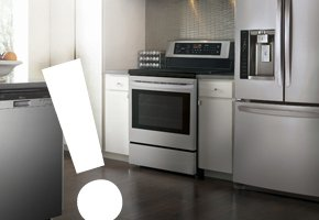 Kitchen with range and refrigerator.