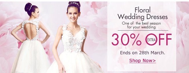 Floral wedding dresses Extra 30% off SHOP NOW