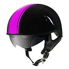 Outlaw V5-40 Pink Strip with Visor Motorcycle Half Helmet