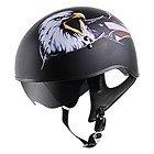 Outlaw V5-15 Eagle Flat Black with Visor Motorcycle Half Helmet