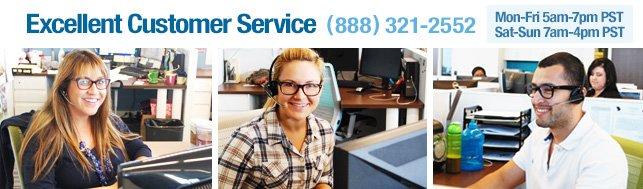 Excellent Customer Service (888) 321-2552.