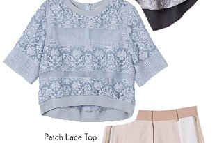 Short Sleeve Patch Lace Top