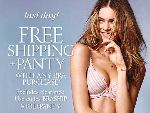 Last Day! Free Shipping + Panty With Any Bra Purchase