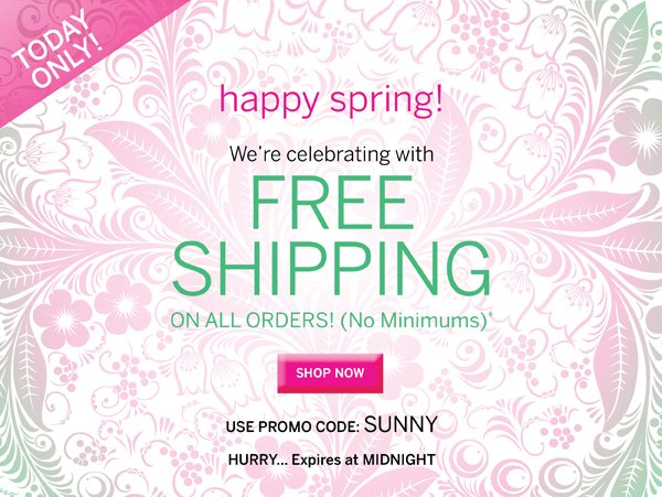 Free Shipping with promo code SUNNY.