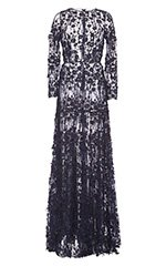 Fringed Floral Guipure Evening Dress