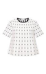 Frances White Dotted Knit Top