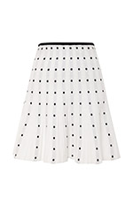 Levy White Dotted Knit Skirt