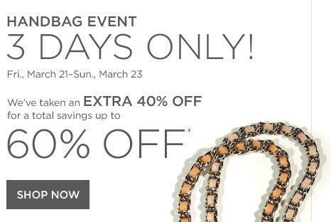 Up to 60% off Handbag Event