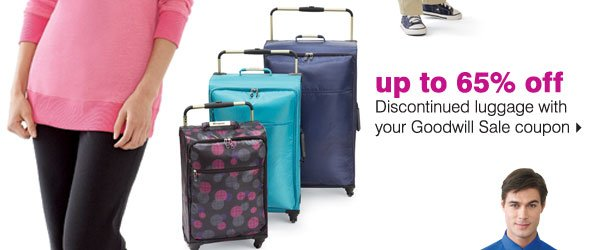 up to 65% off Discontinued luggage with your Good will Sale coupon