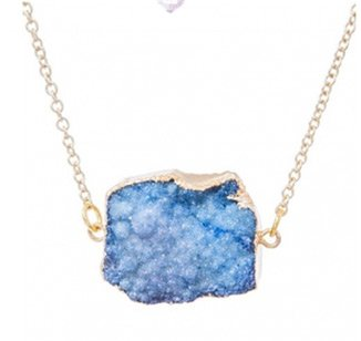 Sapphire Blue Druzy Connector Necklace