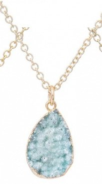 Seafoam Druzy Teardrop Pendant Necklace