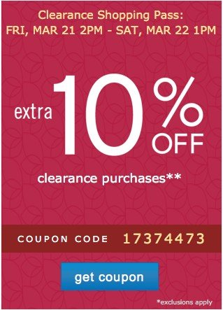 Clearance Coupon