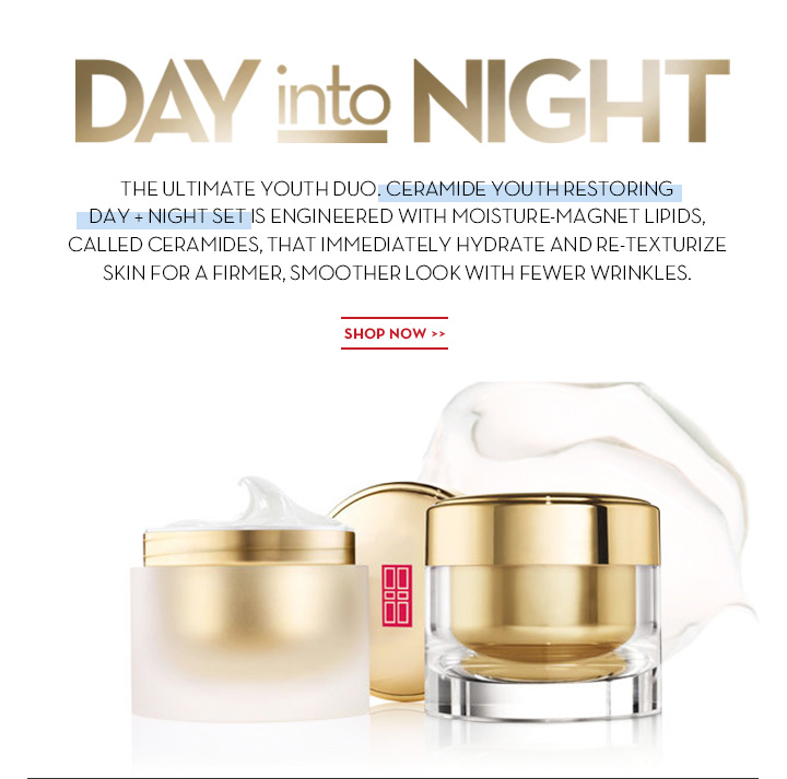 DAY into NIGHT. THE ULTIMATE YOUTH DUO. CERAMIDE YOUTH RESTORING DAY + NIGHT SET IS ENGINEERED WITH MOISTURE-MAGNET LIPIDS, CALLED CERAMIDES, THAT IMMEDIATELY HYDRATE AND RE-TEXTURIZE SKIN FOR A FIRMER, SMOOTHER LOOK WITH FEWER WRINKLES. SHOP NOW.