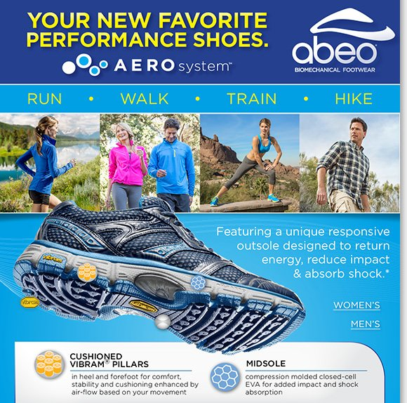 Walk, run, train and hike in ABEO® AEROsystem™ athletic shoes! The ultimate in performance comfort, enjoy the unique responsive outsole designed to return energy, reduce impact on joints, and absorb shock.* Shop now to find the best selection online and in stores at The Walking Company.