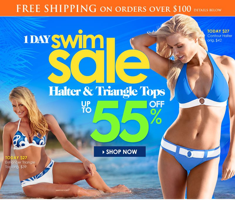 1-Day Swim SALE - up to 55% OFF Halter and Triangle Tops!