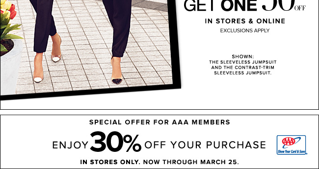 AAA Members Save 30% Off Your Purchase In Stores!