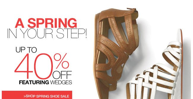 A Spring in Your Step! up to 40 percent off featuring wedges - shop spring shoe sale