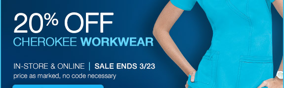 Save 20% on Cherokee Workwear