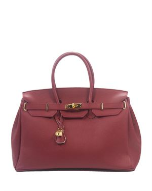 H&S Genuine Leather Solid Color Satchel Made In Italy