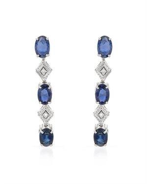 Foreli 14K White Gold Diamond Sapphire 3.20 CTW Journey Earrings