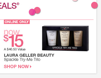 Today's Online Only Beauty Steal- Laura Geller Beauty Spackle Try-Me-Trio now $15