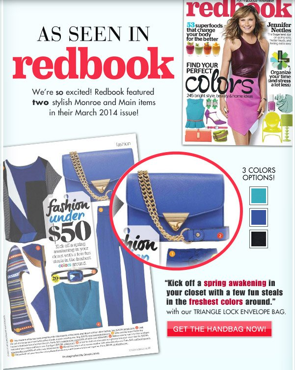 We're in This Month's Redbook Magazine | Get the Handbag Now!