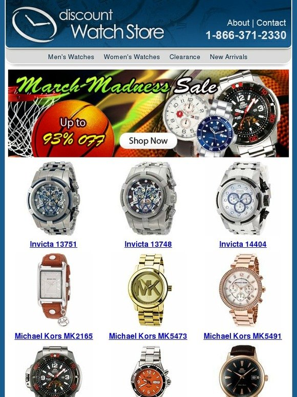 Shop the January sales at Watch Shop to get your hands on great savings on stunning jewellery including lines such as Michael Kors, Guess and Armani. details ; Get Deal. 50% off. Deal. 50% Off Selected Designer Watches in The January Sale at Watch Shop. Shop with WatchShop Coupon, Save with Anycodes.