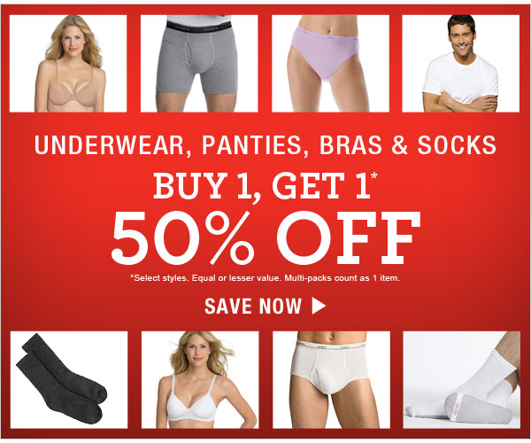 Shop Buy One Get One 50% off: Underwear, panties, bras & socks